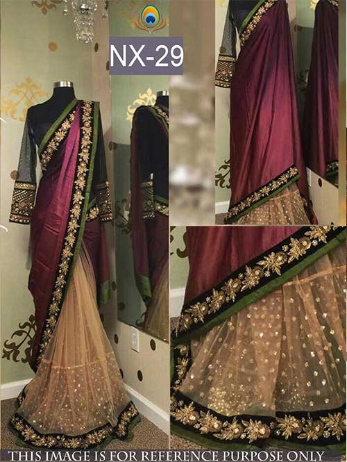 Maroon And Beige Colored Beautiful Joya Silk And Net Saree With Embroidered Blouse