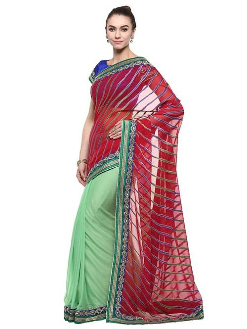 Maroon and Green Colored Chiffon With Lycra Saree Has Beautiful Embroidered Border