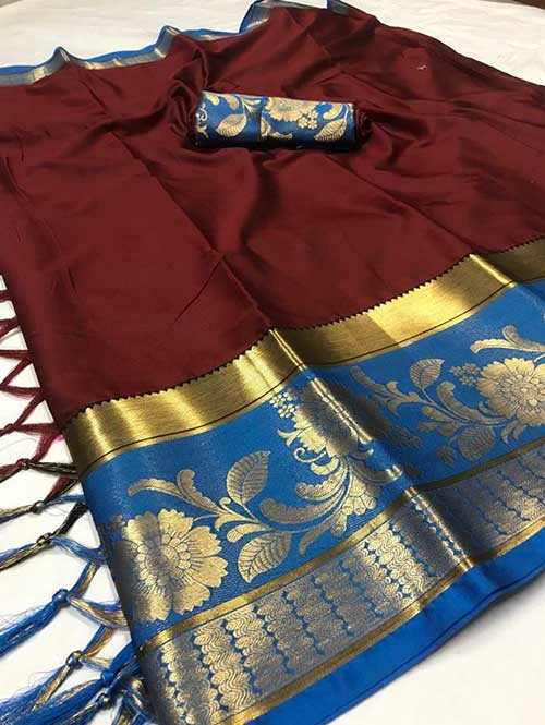 Maroon Color Beautiful Weaving Cotton Silk Saree - Flavor