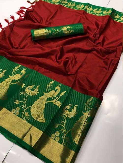 Maroon Color Beautiful Weaving Cotton Silk Saree