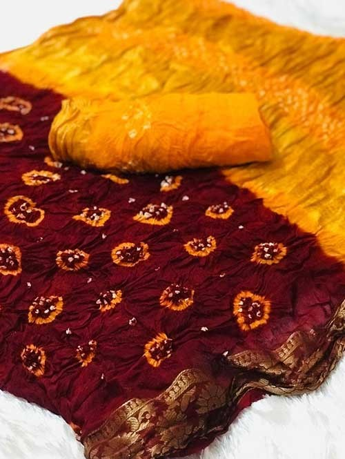 Maroon Colored Amazing Saree has Bandhani Handprint With Weaving Border - new saree collection