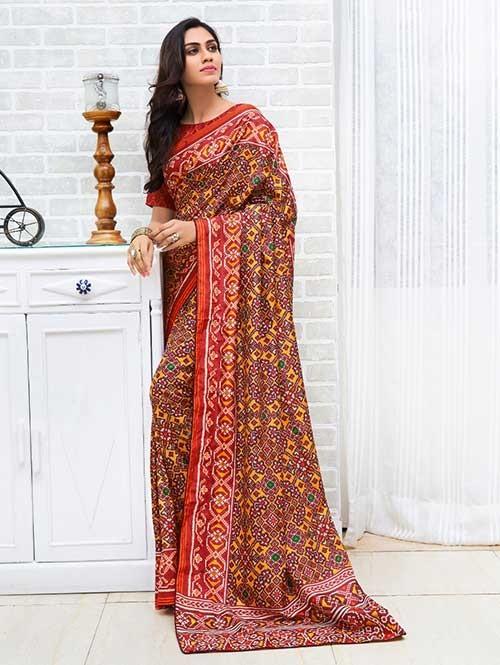 Maroon Colored Bandhani Printed Dola Silk Saree - Yaana