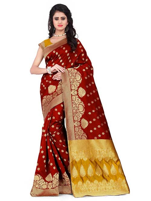 Maroon Colored Beautiful Banarasi Silk Saree