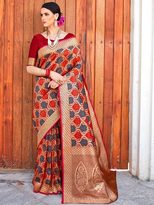 Maroon Colored Beautiful Branded Weaving Silk Saree - Kilfi