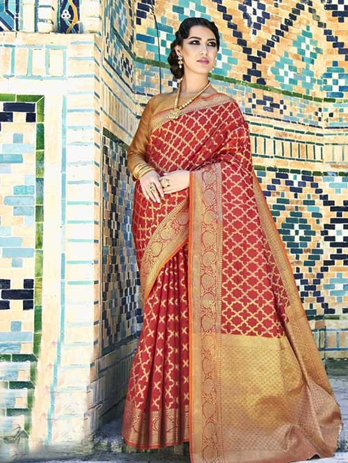 Maroon Colored Beautiful Branded Weaving Silk Saree - Krysta