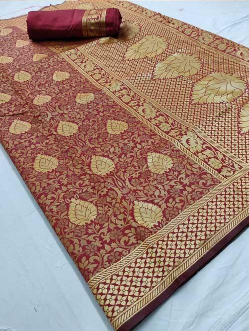 Maroon Colored Beautiful Branded Weaving Silk Saree - Raag