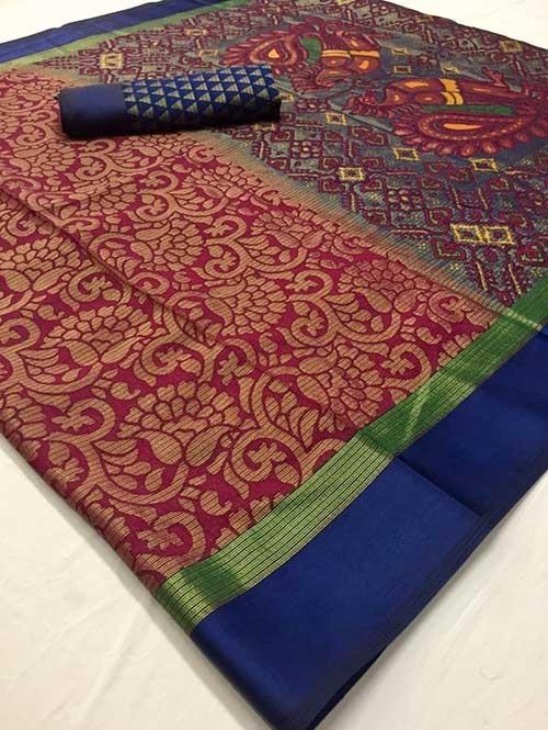 Maroon Colored Beautiful Brasso Soft Silk Fancy Saree With Kalamkari - Kudrat