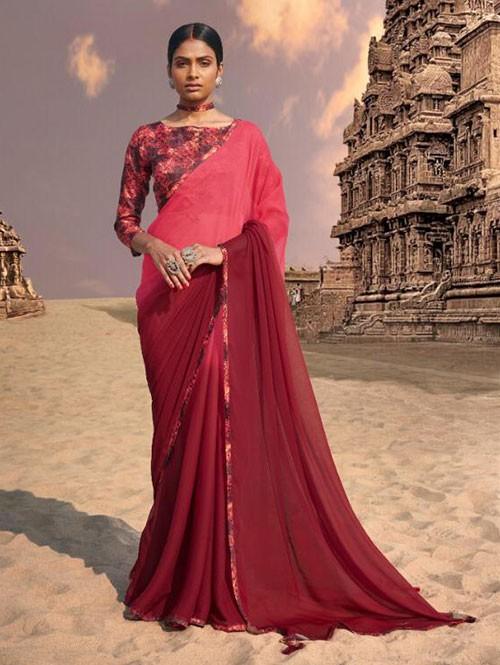 Maroon Colored Beautiful Chiffon Shaded Color Saree With Printed Saree