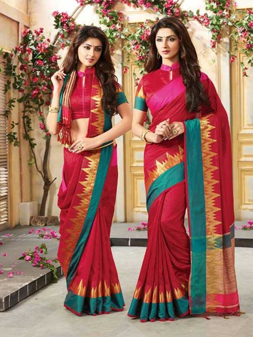 Maroon Colored Beautiful Embroidered Cotton Saree With Matching Blouse