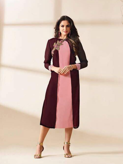 Maroon Colored Beautiful Embroidered Georgette Stylist Kurti.
