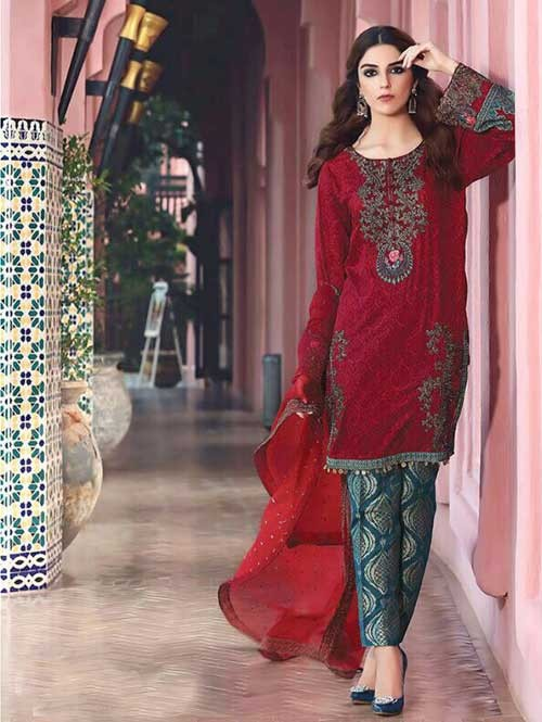Maroon Colored Beautiful Embroidered Pakistani Salwar Suit