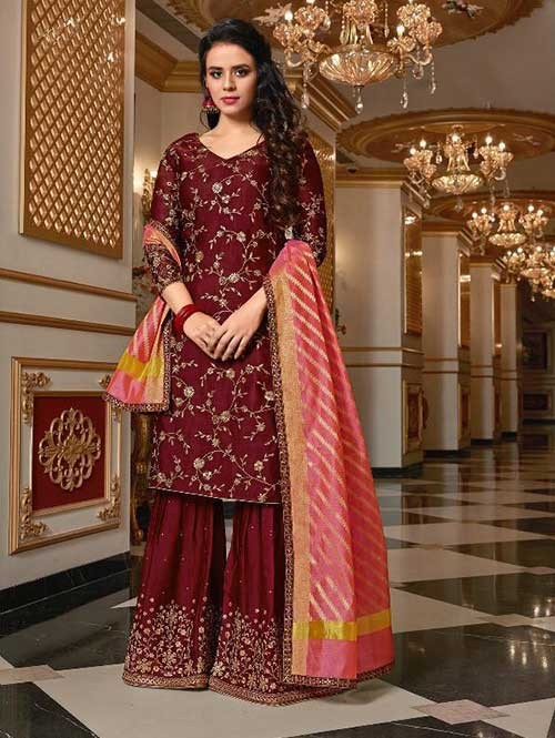 Maroon Colored Beautiful Embroidered Satin Georgette Pakistani Sharara Suit