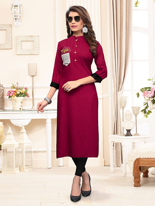 Maroon Colored Beautiful Embroidered Straight Rayon Kurti