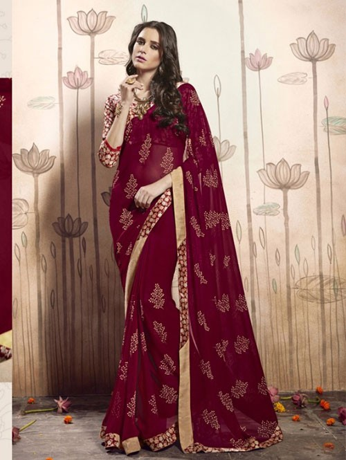 Maroon Colored Beautiful Faux Georgette Saree with Printed Blouse.