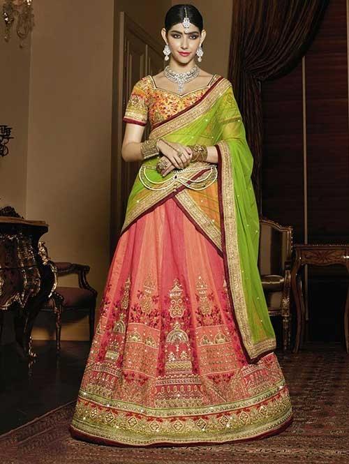 Maroon Colored Beautiful Heavy Embroidered Shahi Silk Lehenga Choli