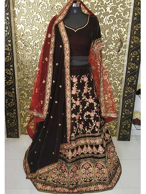 Maroon Colored Beautiful Heavy Embroidered Velvet Bridal Lehenga Choli