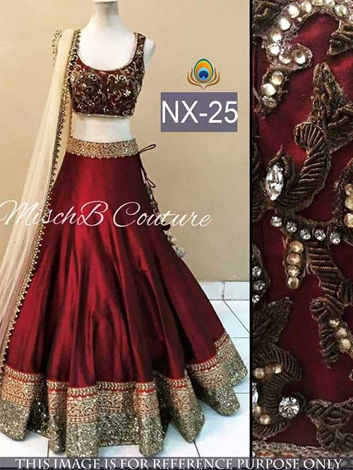 Maroon Colored Beautiful Joya Silk Lehenga With Matching Choli