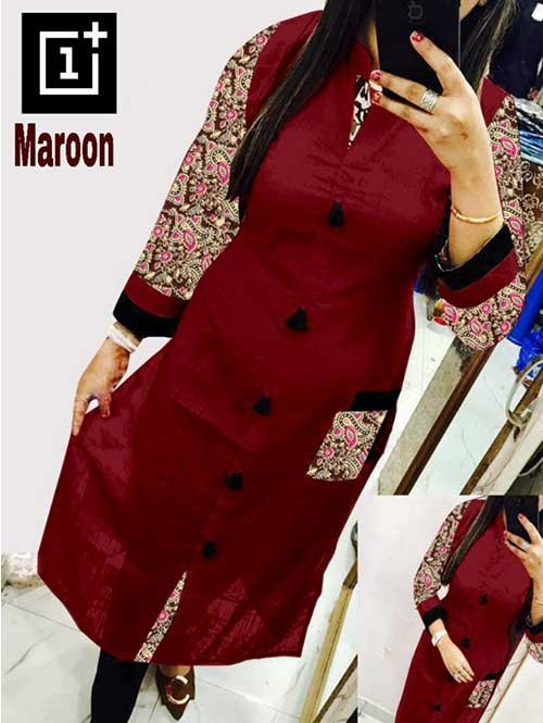Maroon Colored Beautiful Kalamkari Printed Straight Slub Cotton Kurti.
