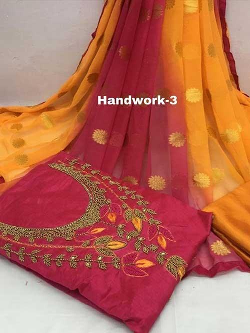 Maroon Colored Beautiful Khatali Work Chanderi Cotton Dress Material.