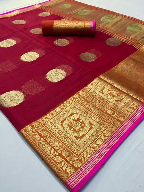 Maroon Colored Beautiful Kota Silk Zari Weaving Saree Online