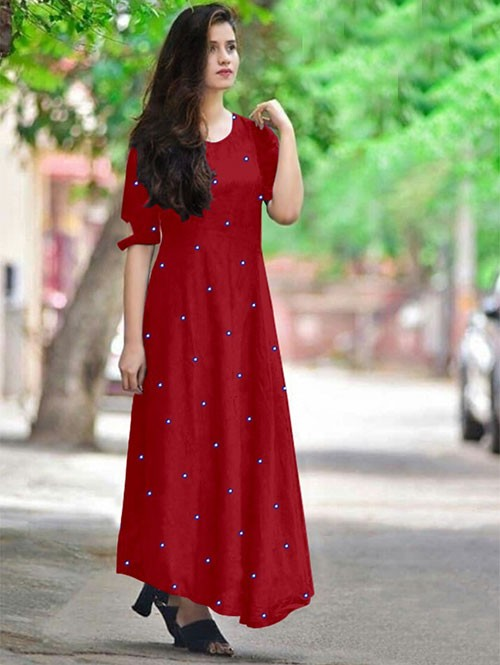 Maroon Colored Beautiful Embroidered Mirror Foil Rayon Kurti