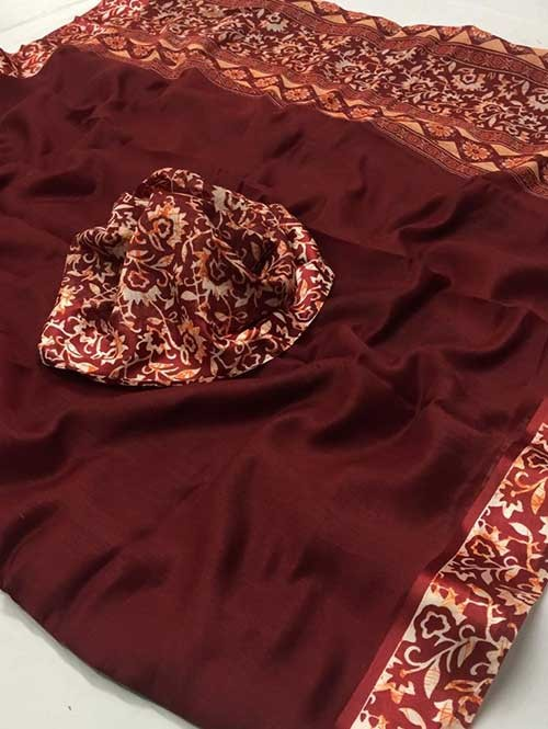 Maroon Colored Beautiful Printed Linen Saree with Satin Patta - Stavan Silk