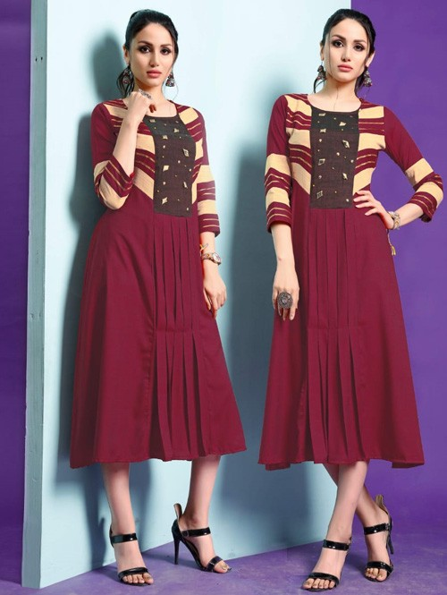 Maroon Colored Beautiful Printed Pleated Two Tone With Weaving Cotton Kurti