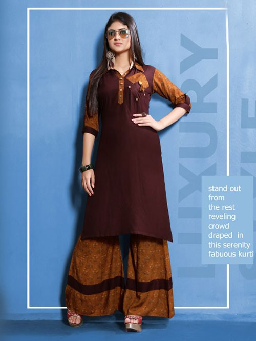 Maroon Colored Beautiful Printed Straight Cut Rayon Kurti With Palazzo Set