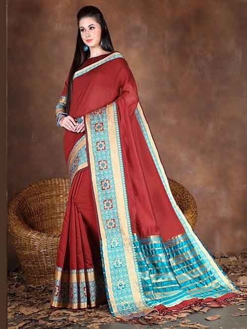 cf23b25469571 Maroon Colored Beautiful Pure Soft Cotton Saree With Exclusive Latkan