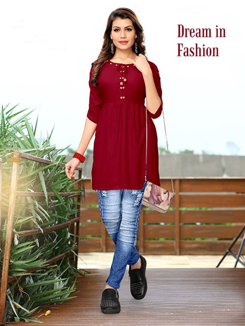 Maroon Colored Beautiful Rayon Kurti With Fancy Wooden Button