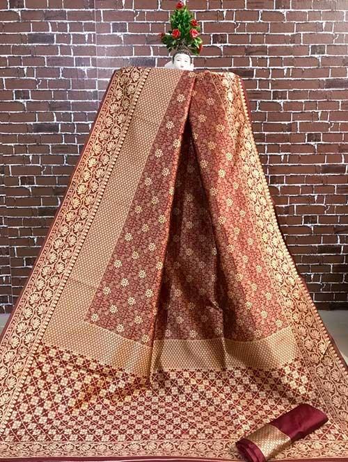 Maroon Colored Beautiful Soft Banarasi Silk Fancy Saree Online