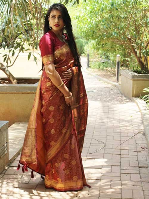 Maroon Colored Beautiful Soft Silk Traditional Saree Online - Ria