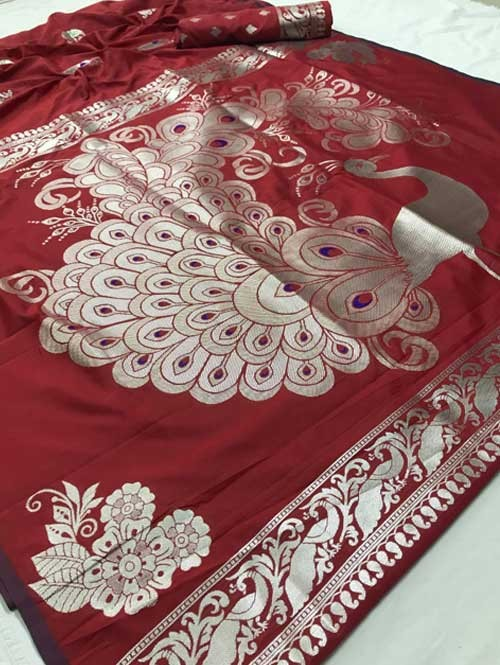 Maroon Colored Beautiful Soft Weaving Silk Peacock Pallu Designer Saree - sarees online