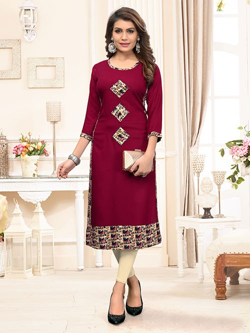 Maroon Colored Beautiful Straight Rayon Kurti with Embroidery.
