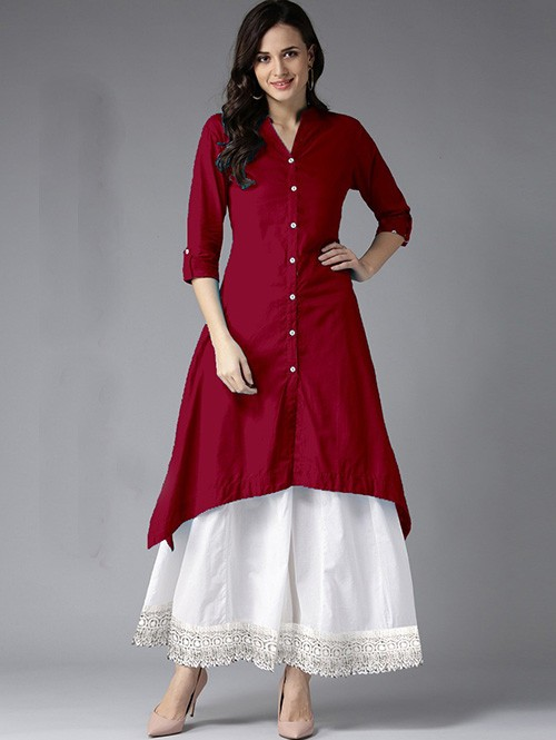 Maroon Colored Beautiful Trail Cut Rayon Kurti With Cotton Palazzo