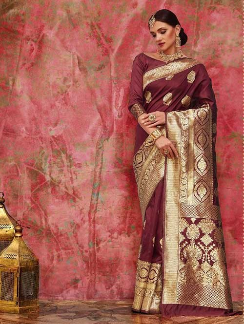 Maroon Colored Beautiful Waving Silk Saree