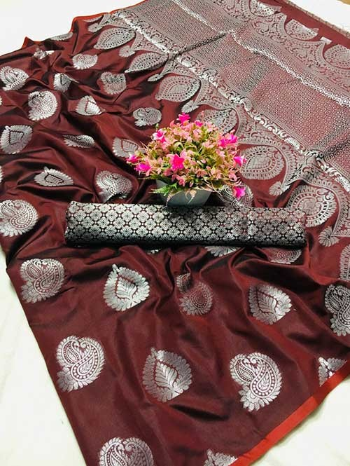 Maroon Colored Beautiful Weaving Banarasi Silk Saree - Silver