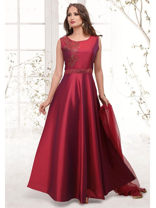 Maroon Colored Beautiful Yoke Embroidered Ready Made Satin Silk Anarkali Suit With Matching Bottom and Dupatta