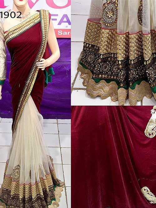 Maroon Colored Beutiful Embroidered Net and Viscose Saree