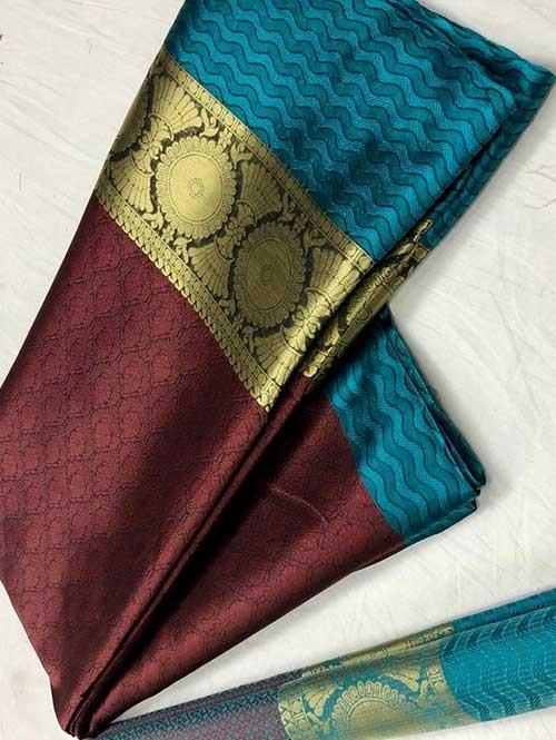 Maroon Colored Branded Soft Muslin Silk Saree - Poshak