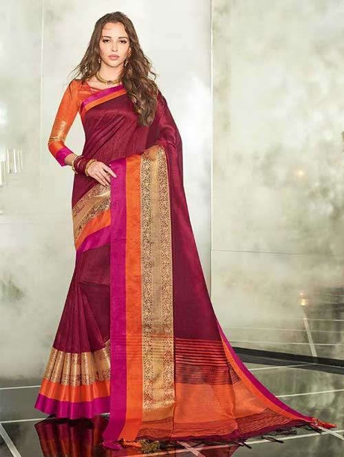 Maroon Colored Branded Weaving Silk Saree