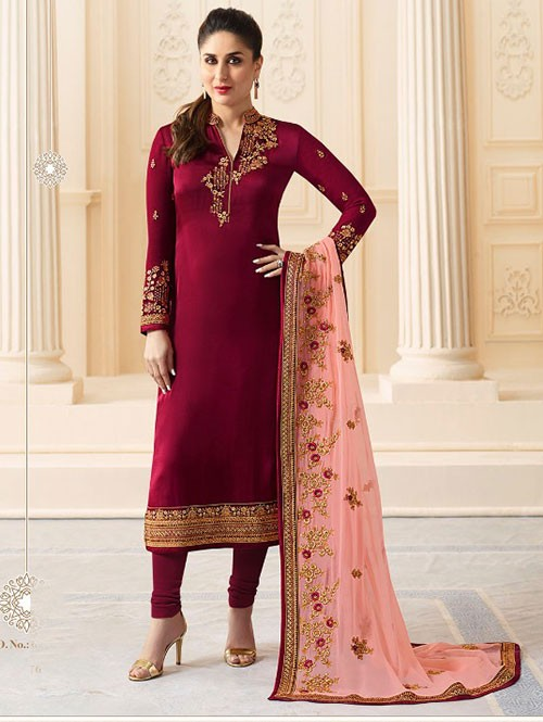 Maroon Colored Heavy Embroidered Georgette Salwar Suit