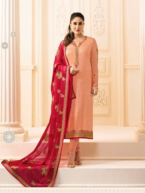 Peach Colored Heavy Embroidered Georgette Salwar Suit