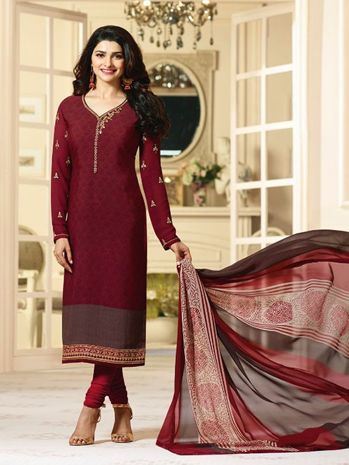 Maroon Colored Heavy Embroidered Royal Crepe Salwar Suit