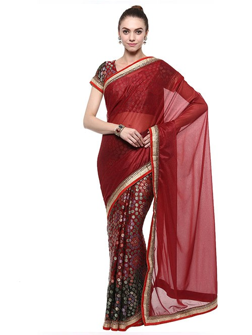 Maroon Colored Lycra With Brasso Saree Has Beautiful Embroidered Border