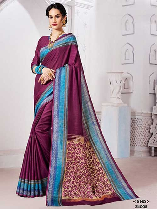 Maroon Colored Manipuri Silk Saree with Beautiful Embroidered on Pallu