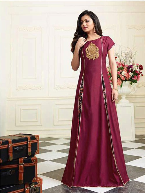 Maroon Colored Muslin Silk Embroidered Kurti