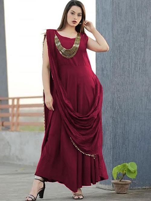 Maroon Colored Saree Drape Style Indo-Western Rayon Kurti