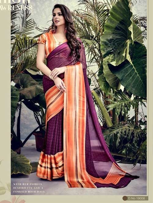 Maroon Colored weightless Satin Patta Printed Saree