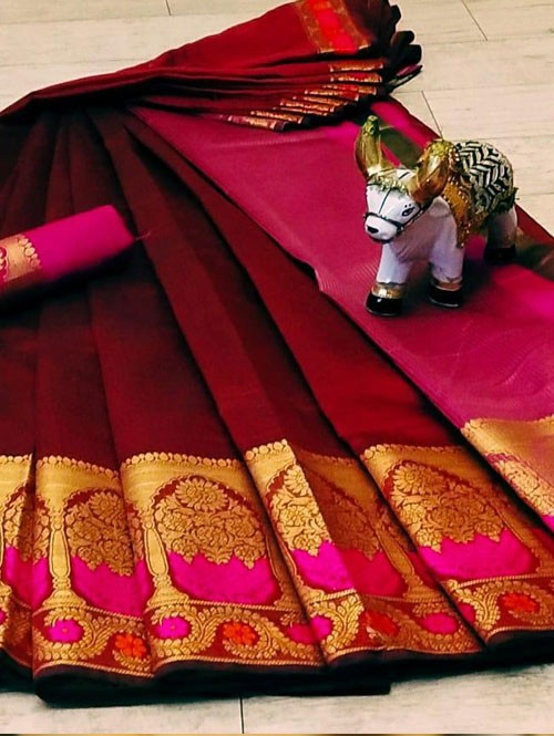 Maroon Soft Cotton saree with Blouse - cotton sarees online shopping at grabandpack.com